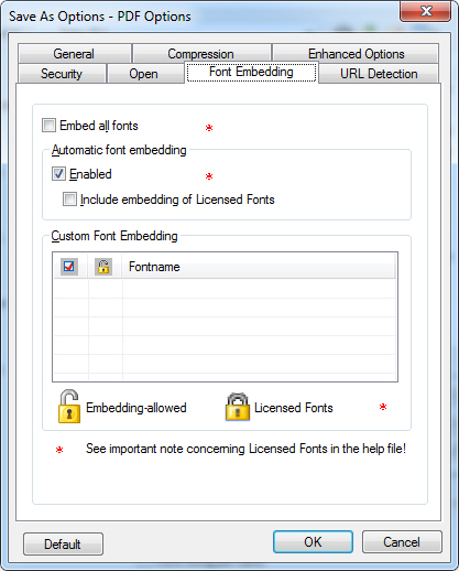 ePrint PDF Options - Font Embedding Screenshot