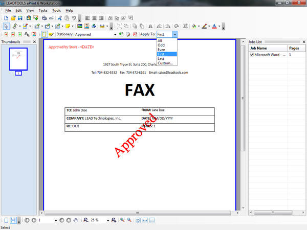 ePrint Workstation - Stationery and Watermarks Screenshot